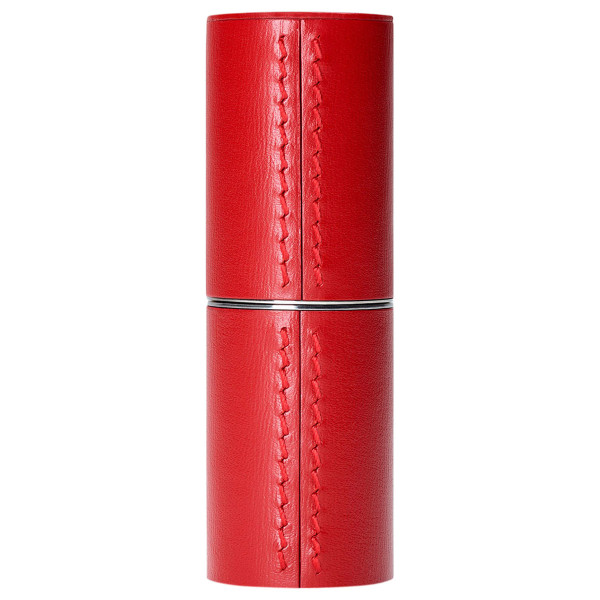 Refillable Red Leather Lipstick Case